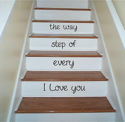 I Love you Stairs Step Sign Vinyl Decor Wall Lettering Words Quotes Decal art