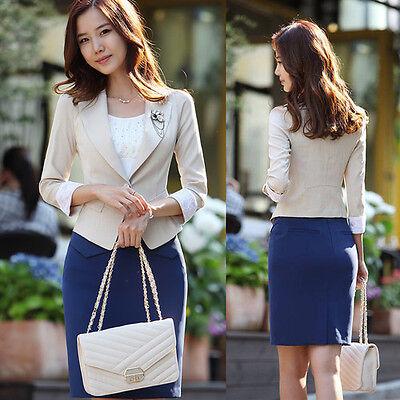Women's OL Lace Sleeve Short Suit One Button Blazer Coat Jacket Khaki Size S-XL
