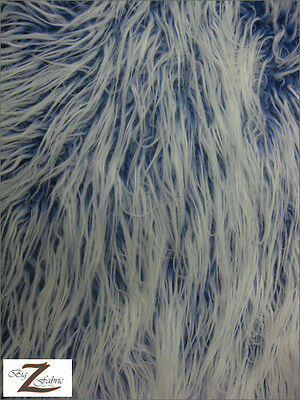 FROSTED SHAGGY FAUX FUR FABRIC-ROYAL (LONG PILE) -24.99/YRD SOLD BTY