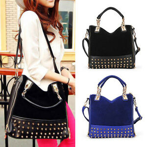 Hobo-Fashion-Retro-Blue-Black-Fuax-Leather-Shoulder-Tote-Rivet-Handbag-Bag-Lots