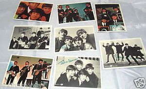 8-BEATLES-Puzzle-Postcards-Rock-n-Roll-Pop-Music-Vintage-Signed-Black-White-BW