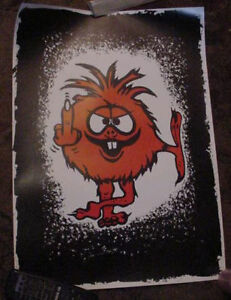 ORIGINAL-VINTAGE-70S-THE-THING-MIDDLE-FINGER-POSTER-art-Shooting-bird-flipping