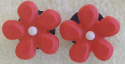 2 RED FLOWERS W/WHITE Shoe Charms Fit Crocs Jibbitz!