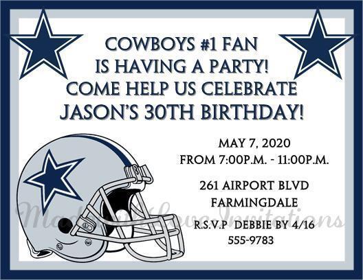 10 dallas cowboys birthday football printed invitations super bowl 10 dallas cowboys birthday football printed invitations super bowl any age filmwisefo