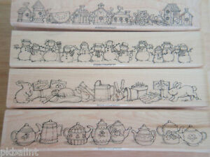 Stampin Up! Best Borders 1996 Four Border Rubber Stamps