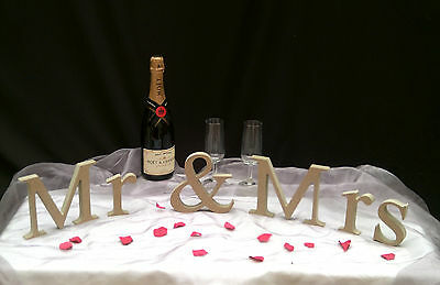 Mr & Mrs and personalised surname Freestanding Wooden MDF Unpainted Letters