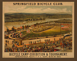 1883 SPRINGFIELD MASSACHUSETTS, antique Bicycle Club, Bike race,20x16 Canvas Art