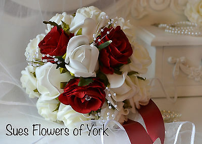Wedding Flowers Bridesmaid Bouquet in Red & Ivory