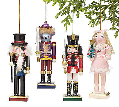 "Burton 5.25"" Nutcracker Sweet Characters Wooden Christmas Ornaments - Set of 4"