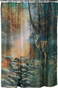 Whitetail-Deer-034-Beside-Still-Water-034-Shower-Curtain-with-Rings-Rivers-Edge