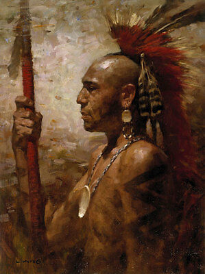 Z S Liang PEQUOT WARRIOR Giclee Canvas Native American #51/75