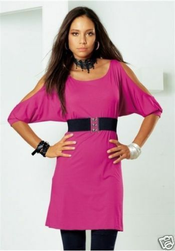 top MELROSE Longshirt Tunika Kleid mit Gürtel  in SCHWARZ