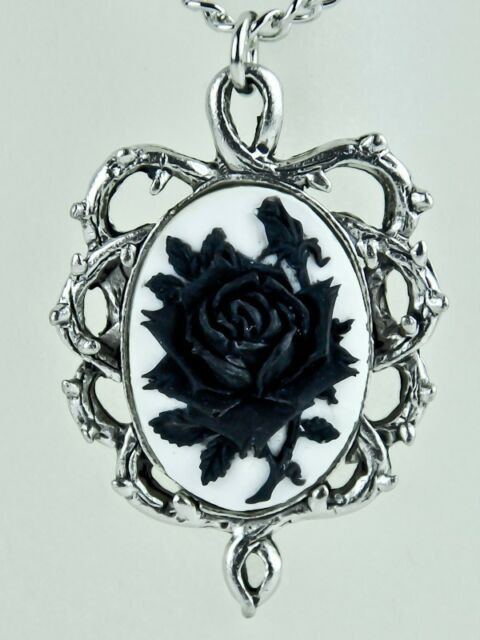 GOTHIC THORN BLACK ROSE VINE CAMEO NECKLACE JEWELRY VICTORIAN ANIME ANTIQUE