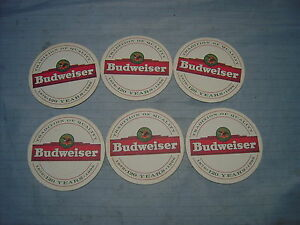 Six-round-paper-beer-coaster-Budweiser-on-both-sides