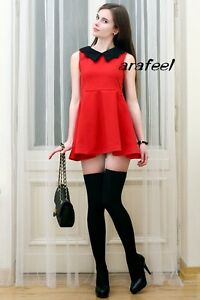 Red-navy-PETER-PAN-BLACK-collar-Mixed-Contrast-mini-dress-top-sexy-party-VINTAGE