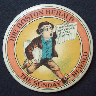 EARLY THE BOSTON HERALD CELLULOID ADVERTISING MIRROR NEAR MINT PAPERBOY