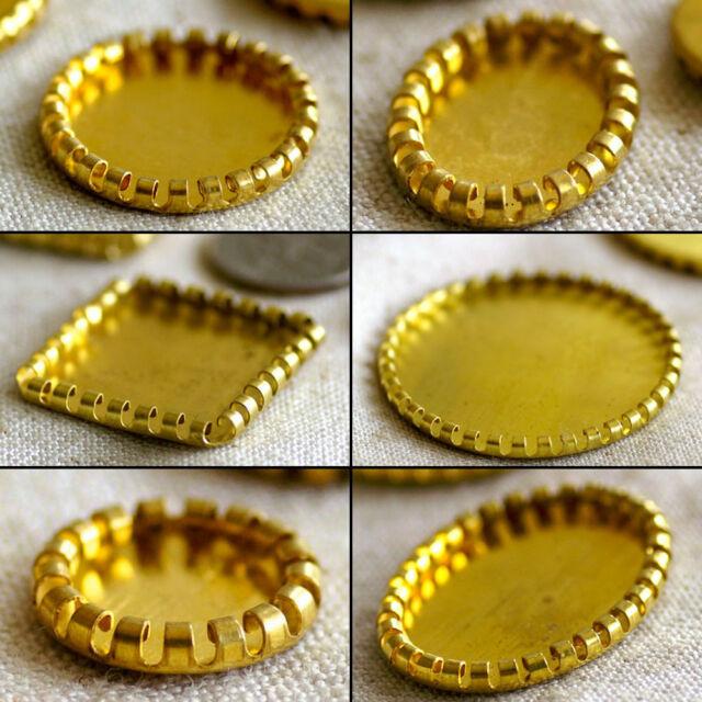 10mm to 35mm Soild Brass Curled Edge Bezel Cabochon Setting Base PICK