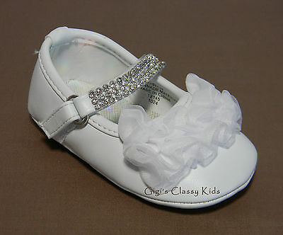 New Baby Girls White Dress Shoes Size 0 Christening Baptism Easter Dedication