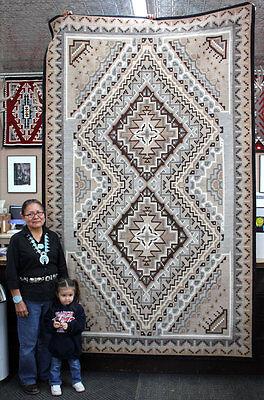 "Elouise Gishie, Two Grey Hills, Handwoven Navajo Wool Rug,  118""x72"""