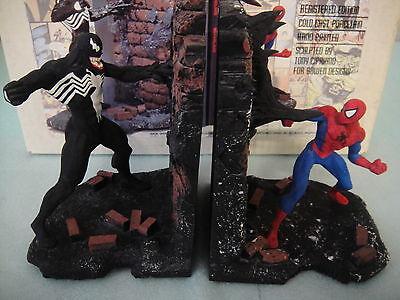 BOWEN DESIGNS SPIDER-MAN VS VENOM STATUE/BOOKENDS 1994 W/BOX RARE! TOY MAQUETTE