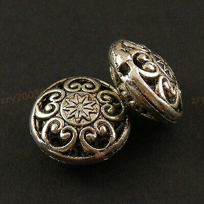 12Pcs Tibetan Silver Hollow Filigree Floral Round Spacer Beads 9x17mm KA5060
