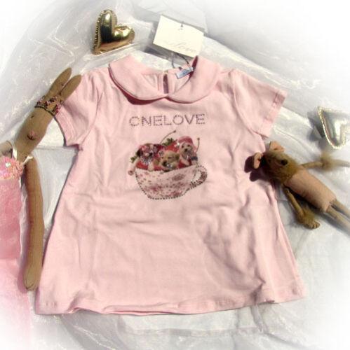 Onelove One Love Designer Kleid rosa Italy Strass Hunde Tasse 6-9 mesi 68 74