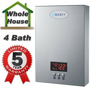 Electric-Tankless-Instant-On-Demand-Hot-Water-Heater-5-GPM-Whole-House-Marey-NEW