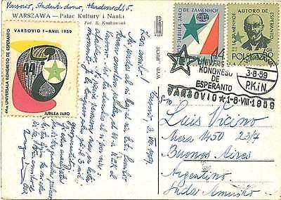 ESPERANTO -  STAMPS and CINDERELLA \ POSTER STAMP on postcard - POLAND 1959