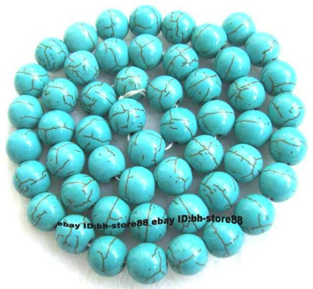 4,6,8,10,12,14,16,18,20mm Blue Howlite Turquoise Round Gemstone Beads 15''