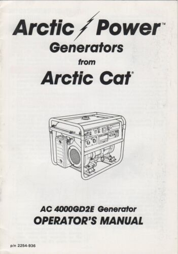 1993 ARCTIC CAT GENERATORS AC 4000GD2E OPERATOR MANUAL