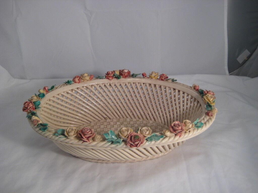 Vintage Porcelaine Pain Panier de belles fleurs Italie