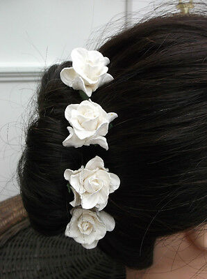 5 GARDENIA FLOWER PINS, Wedding Hair Accessories, Bride