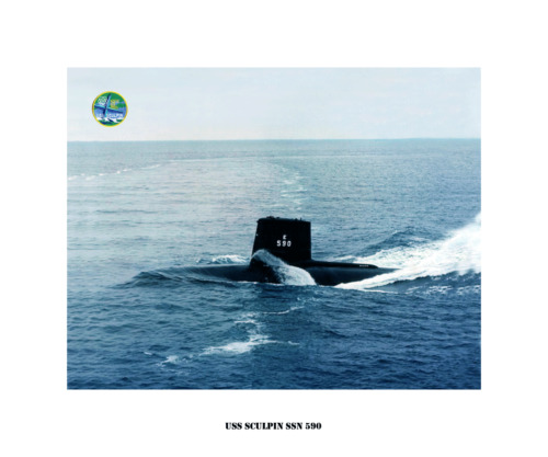 USS SCULPIN SSN 590 --Nuclear Attack Submarine ,  USN Navy Photo Print