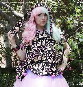 Neon-Bunny-Long-Rabbit-Ear-Wizard-Fairy-Kei-Decora-Pom-Hooded-Cape-Poncho-Jacket