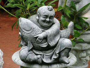 Steinfigur-Nr-031-FENG-SHUI-Buddha-05-mit-Fisch-ca-35-cm-ca-18-5-kg-Wetterfest