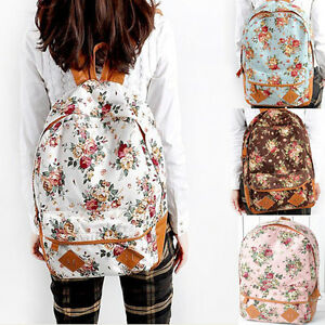 New-Girls-Lady-Fashion-Vintage-Cute-Flower-School-Book-Shoulder-Bag-Backpack