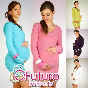 Warm-Womens-Maternity-Hoodie-Very-Soft-V-Neck-Tunic-Jumper-FR05