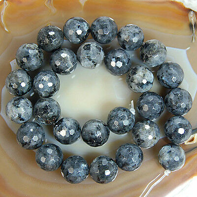 """Faceted Natural Black Larvikite Round Beads 15"""" 6mm 8mm 10mm 12mm 14mm Pick Size"""