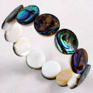 7-039-039-Abalone-Shell-Mop-15mm-Coin-Beads-Stretchy-Bracelet