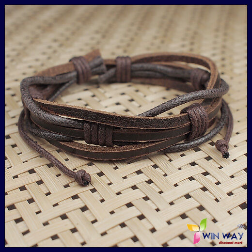 New Hemp Surfer Tribal MultiWrap Men's Leather Bracelet