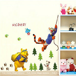Winnie-the-Pooh-Tigger-Kids-Bedroom-Wall-Stickers-Transparent-Decal-Nursery-Deco