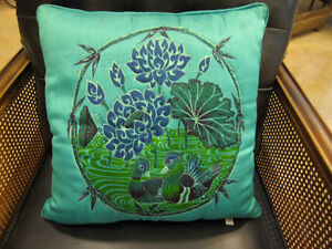 Pair-of-Sweet-Teal-Turquoise-1970s-Rayon-Asian-Inspired-Pillows-Thai-Characters