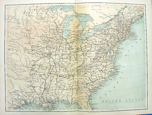 1880 Engraved Color Print MAP OF EAST COAST EASTERN UNITED STATES