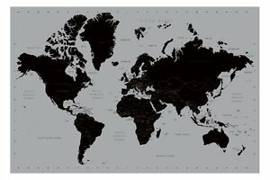 Details about World Map Poster Contemporary Black and Silver Style Large New