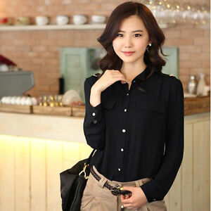 Lady business casual long sleeve shirt m l xl black white for Black shirt business casual