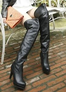 Women-Ladies-Sexy-Pull-On-High-Heel-Over-The-Knee-Thigh-High-Boots-Plus-Size-81