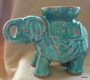 "New Fabulous Elephant Ceramic Green Glaze Made to Look Old 7.25"" Tall"