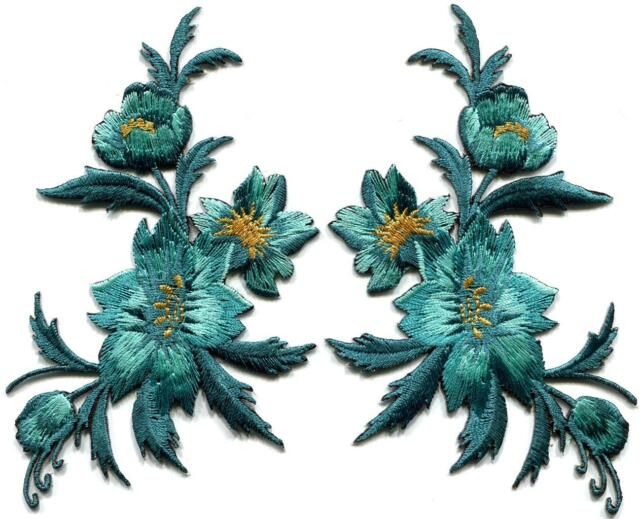 Blue green teal flowers pair floral bouquet boho applique iron-on patches S-804