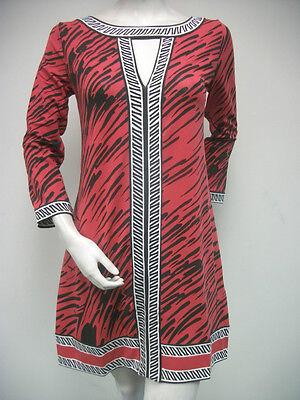 Tracy Negoshian Paige Dress Black Red White Jersey Knit 3/4 Sleeve NEW NWT