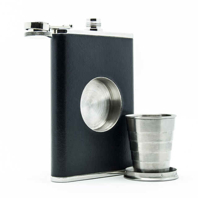 The Original Shot Flask - 8oz Hip Flask with a Built-in Collapsible Shot Glass